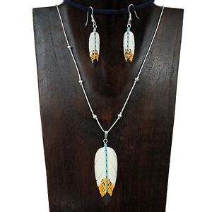 Liquid-Silver-Carved-Painted-Spirit-Feather-Pendant-Necklace-Earring-Set