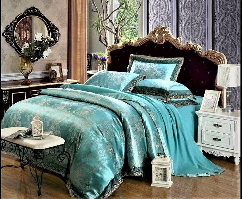 Luxury 4pc. Jacquard Queen Aqua blu Noble Tribute Silk Duvet Cover Bedding Set