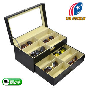 12-Slot-Eyeglasses-Sunglasses-Box-Organizer-Display-Case-Compartments-Black