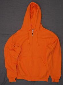 NEW-Jerzees-Nublend-Mens-Full-Zip-Hooded-Sweatshirt-Orange-Small-03994