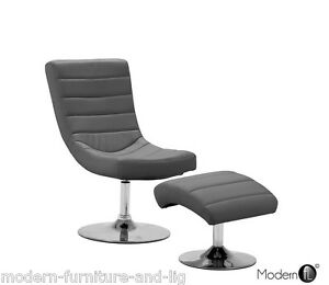 Image Is Loading GREY LOUNGE RELAXING CHAIR WITH STOOL FAUX LEATHER