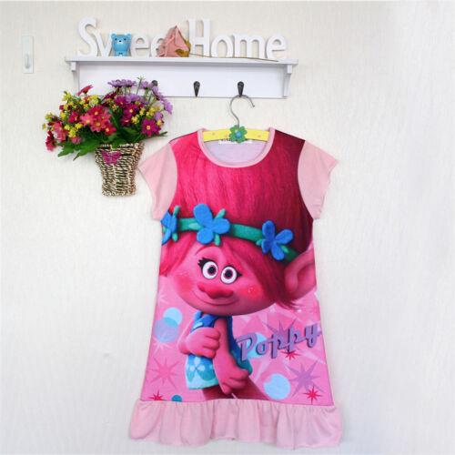 Mädchen Kleid Nachthemd Trolls Nachtwäsche Schlafanzug Pyjama Baumwolle Gr 128