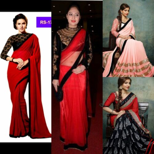 Ladies Indian Bollywood Evening Ready Made Saree Designer Sari Party Wedding