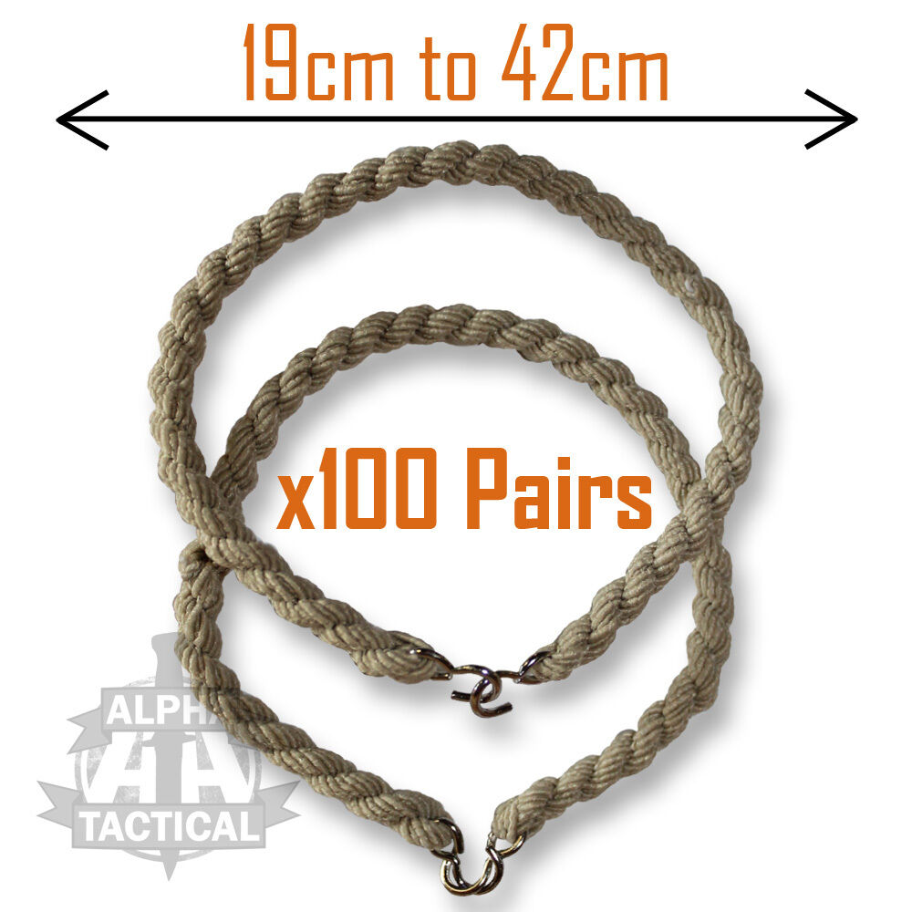 100 PAIRS SAND BEIGE MTP TROUSER TWISTS TWIST  BUNGEE ELASTIC CADET MILITARY 100  low-key luxury connotation