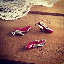 Set of 4 - 3D Shoe Charm - Enamel Charms - Wizard of Oz Ruby Red Slipper Pendant