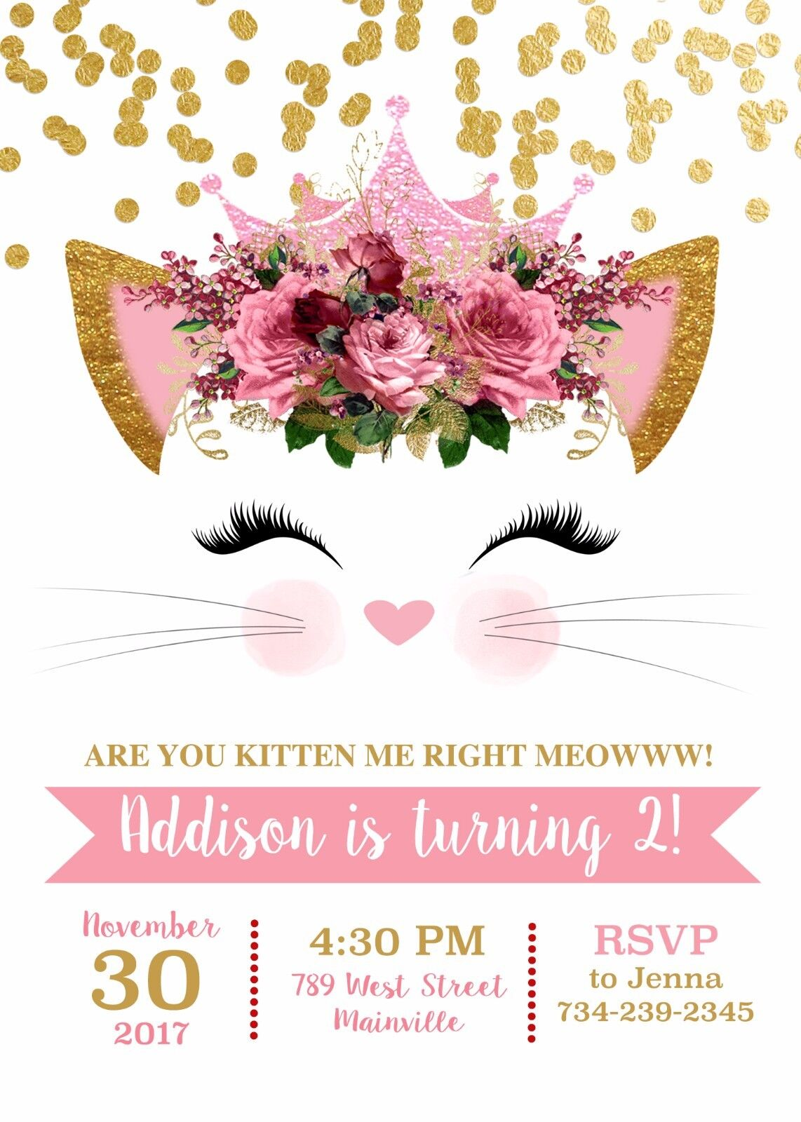 Cat Kitten Party Kitty Birthday Party Kitten Invitation Gold