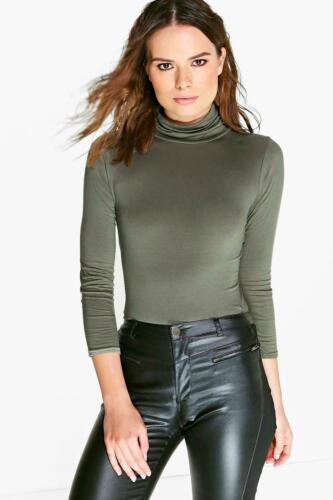 Plus Size Womens Ladies Turtle Polo Roll Neck Long Sleeve Jumper T-Shirt Top