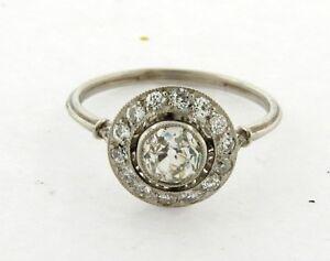 le dernier 294d9 19ac0 Détails sur Art Déco .77 Ancien Mine Diamant Taille Platine Auréole Bague  de Fiançailles