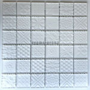 Miraculous Details About White Glass Tile Wall Or Floor Bathroom And Kitchen Mv Oskar Home Interior And Landscaping Pimpapssignezvosmurscom