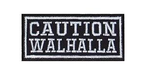 Caution Walhalla Biker Heavy Rocker Patch Aufnäher Kutte Bügelbild Stick Badge