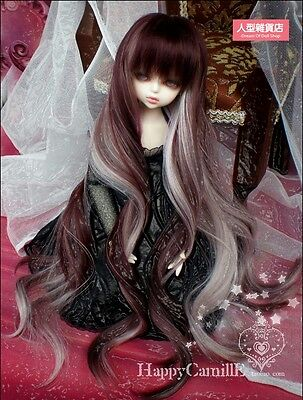 BJD Doll Hair Wig 7-8 inch 18-20cm Brown  White 1/4 MSD DZ DOD LUTS Perma-long
