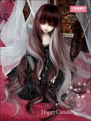 BJD Doll Hair Wig 7-8 inch 18-20cm Brown  White 1/4 MSD DZ DOD LUTS Perma-long