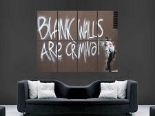BANKSY WALLS BLANK WALLS ARE CRIMNAL ART HUGE LARGE WALL  POSTER  PRINT GRAFFITI