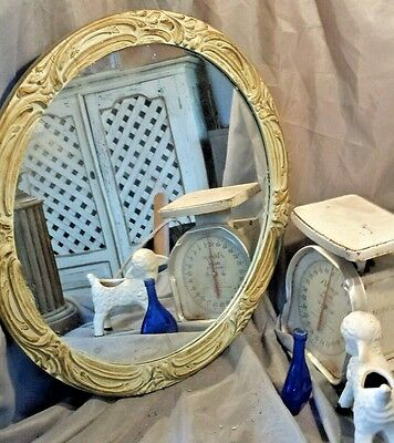 Round Gesso Wood Vtg Mirror Ornate Frame Antique Glass Green Shabby Distressed Ebay
