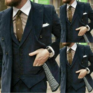 Details zu Cord Herren Anzüge Smoking 3tlg Formal Für Hochzeit Abendessen Maßgeschneidert