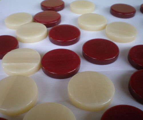 High Quality 30 Acrylic Backgammon Checkers Chips Red /& Ivory 1.4 inches