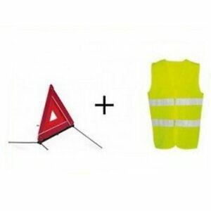 Kit Gilet Jaune et Triangle De Signalisation Haute Visibilité Norme CE Sécurité