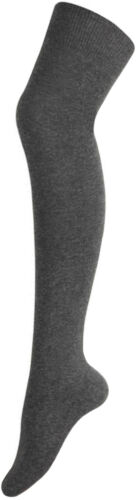 Ladies Girls Long Over The Knee Plain Cotton Socks Dark Grey
