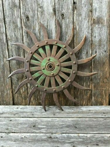 Cool Steampunk//Industrial Decor,Garden Art Vintage Spiked Wheel Rotary Hoe