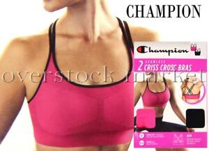 704636407792d NEW WOMENS CHAMPION SEAMLESS CRISS CROSS SPORTS BRA 2 BRAS REMOVABLE ...