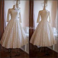 2016 New Sexy  white/ivory lace long sleeve tea length wedding dress custom size