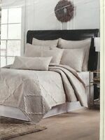 Bella Lux Luxury Linens Full/queen Quilt Set Off-white/ Gold Stitch 3 Pcs