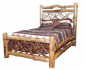 rustic pine log queen size twig style complete bed frame amish made in usa ebay. Black Bedroom Furniture Sets. Home Design Ideas