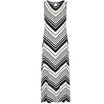 DOROTHY PERKINS NAVY/IVORY STRIPE JERSEY MAXI DRESS (UK 10)