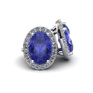 Details About 14k Gold 2 Carat Oval Tanzanite And Halo Diamond Earrings In 3 Colors