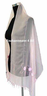 Handrolled Perline Sciarpa Di Seta Scialle W/ Rose, Rosa Confetto