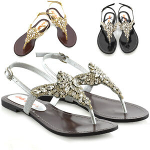 Womens-Flat-Sandals-Slingback-Ladies-Diamante-Dress-Strappy-Toe-Post-Shoes-Size