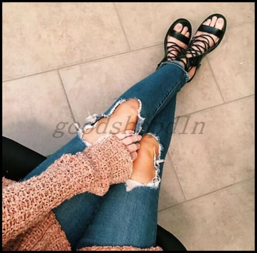 Roman Bandage Womens Open Toe Chunky Heels Sandals Cross Strappy Summer Shoes US