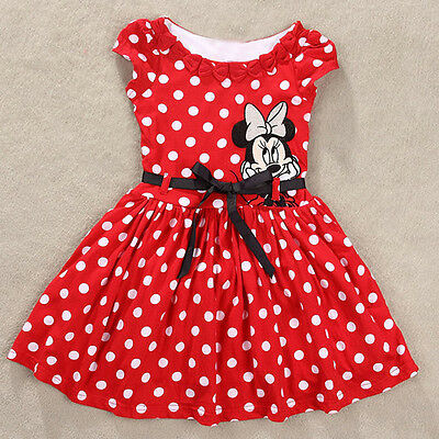 2015 Toddler Baby Girl Kid Party Dress Mickey Mouse Polka Dot Dress 1 2 3 4 5 6T