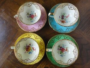 Colourful-Set-Of-4-Paragon-Demitasse-Cup-amp-Saucer-Gilt-Floral-Pattern-No-Tax