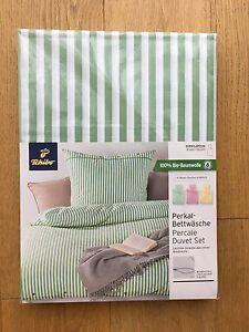 Details Zu Tchibo Perkal Bettwäsche 80 135 200 Weiß Grün Gestreift Streifen Bettbezug Neu