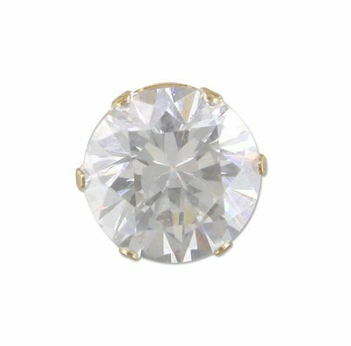 9ct Gold Earring Mens single 8mm round cubic zirconia stud