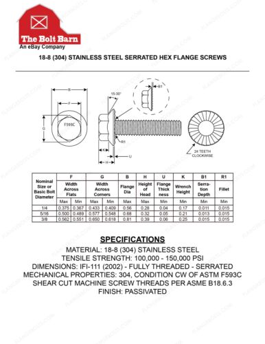 """3//8/"""" Nuts 10 3//8-16x3//4 Stainless Steel Serrated Flange Bolts Scews /& 10"""