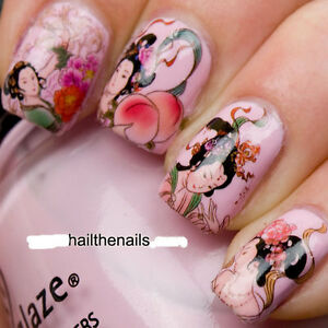 Nail-WRAPS-Nail-Art-Water-Transfers-Decals-Geisha-Girls