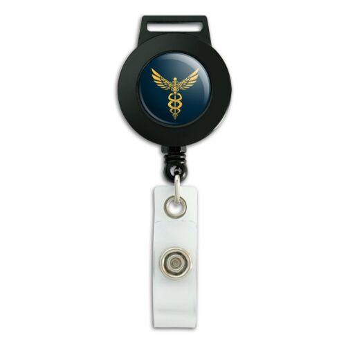Caduceus Medical Symbol Doctor Nurse EMT Lanyard Reel Badge ID Card Holder