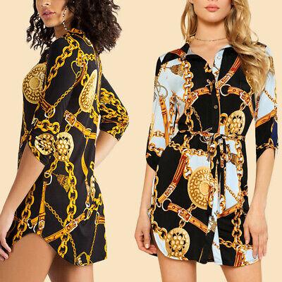 Women High Neck Chain Long Sleeve Mini Summer Baggy Party Ladies Shirt Dress Top