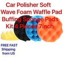 Car Polisher Soft Wave Foam Waffle Pad Buffing Sponge Pads Kit 4 Pieces 7inch