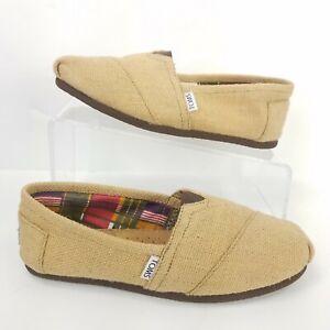 Toms-Classics-Shoes-Woven-Burlap-Wrap-Style-Slip-On-Flats-Comfort-Tan-Women-Sz-9