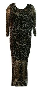 NY-Collection-Women-039-s-Plus-Animal-Print-Ruched-Maxi-Dress-Size-2X-MSRP-70
