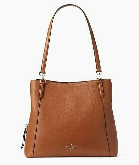 NWT KATE SPADE JACKSON MD TRIPLE COMPARTMENTS SHOULDER BAG GINGERBREAD LEATHER .