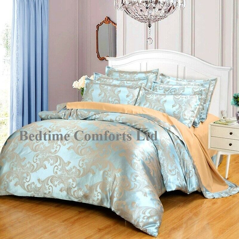 DOUBLE 4' 6  LUXURY (4 Piece) DUVET COVER SILK BEDDING SET (PAISLEY) Blau BEIGE