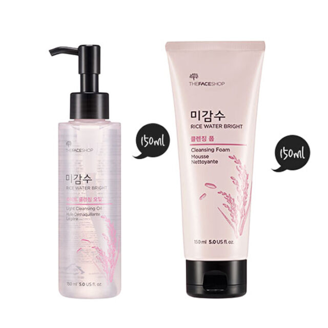 THE FACE SHOP [1+1] Rice Water Bright Cleansing Foam + Cleansing Oil SET