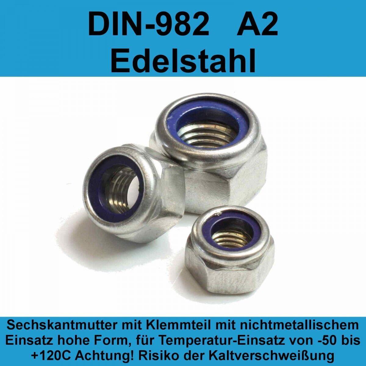 M10 DIN 982 Sicherungsmuttern A2 V2A Edelstahl Klemmteil hohe Form Stopmuttern   | Billiger als der Preis