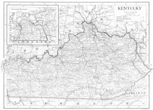 Kentucky State Map Showing Counties 1910 Old Antique Vintage Plan