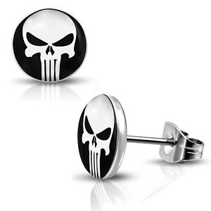 Stainless-Steel-Punisher-Skull-Round-Circle-Button-Stud-Post-Piercing-Earrings