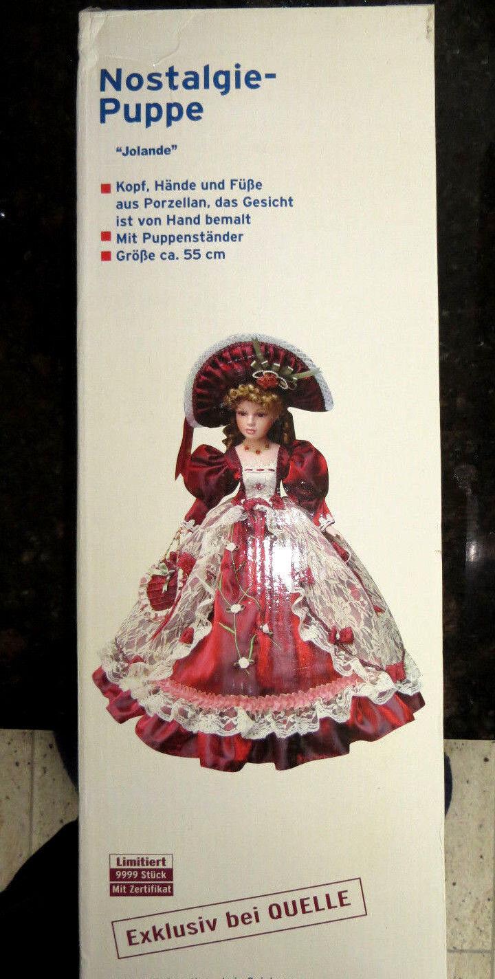 Nostalgie Puppe Porzellanpuppe Gr. 55 cm mit Zertifikat limitiert